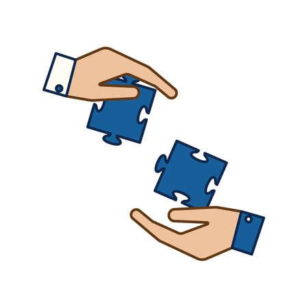 Hände und Puzzleteile Standard-Bild - 81533102