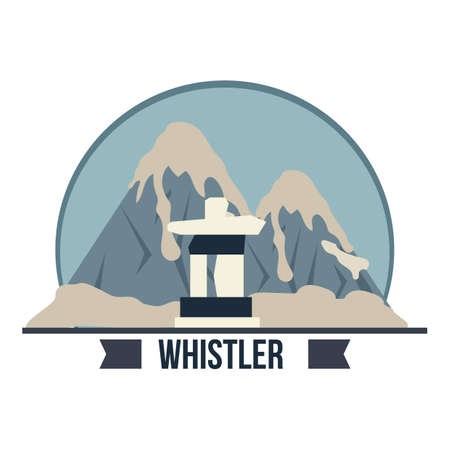 Ein Whistler Peak Inukshuk Abbildung. Standard-Bild - 81484185