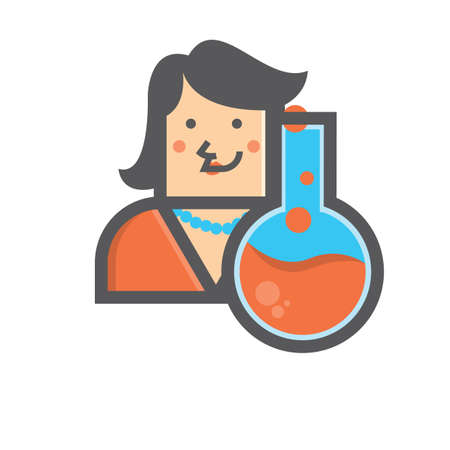 boiling: Businesswoman and boiling flask Illustration