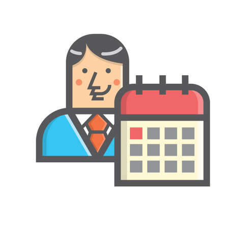 Businessman and calendar Иллюстрация