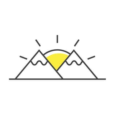A mountains and sun Illustration. Illustration