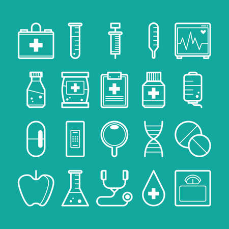 Collection of health icons Illusztráció