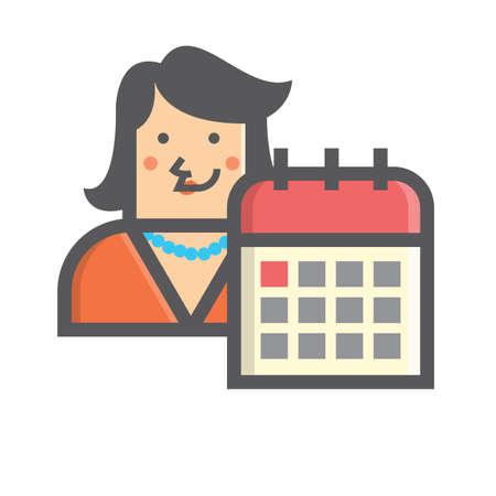 Businesswoman and calendar Иллюстрация