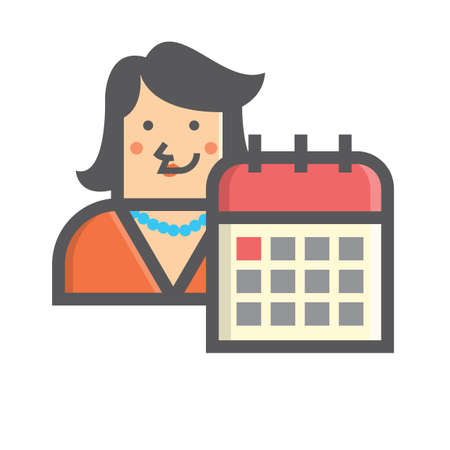 Businesswoman and calendar Illustration