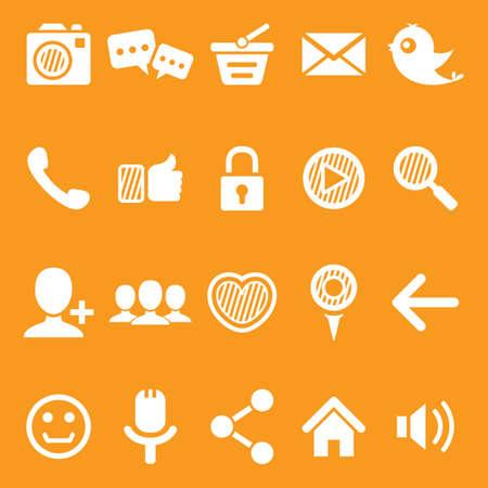 ソーシャル メディアのアイコンのセット  イラスト・ベクター素材