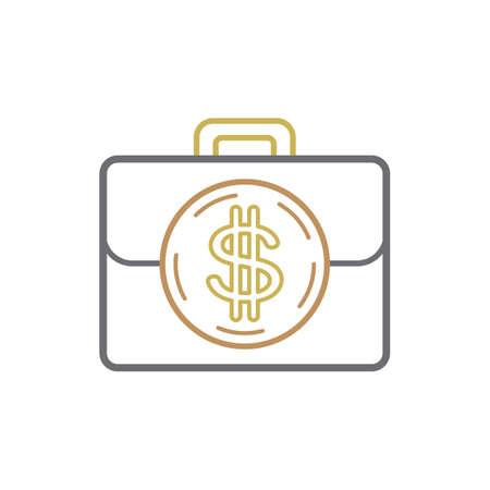Une mallette avec symbole dollar Illustration. Banque d'images - 81484527