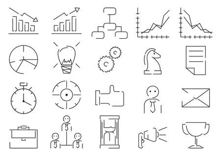 business strategy icon set Illustration