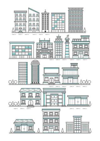 Set of buildings Ilustração