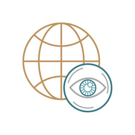A globe icon with eye Illustration.
