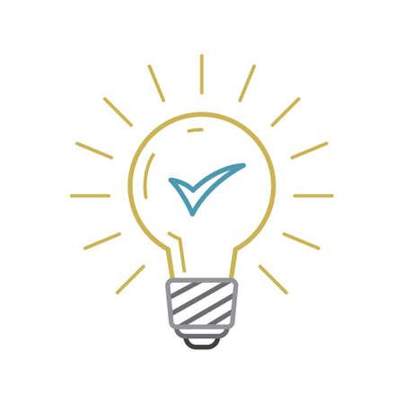 A bulb with tick mark Illustration. Illustration