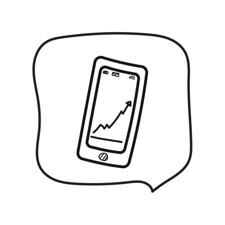 Mobile phone with graph Illustration