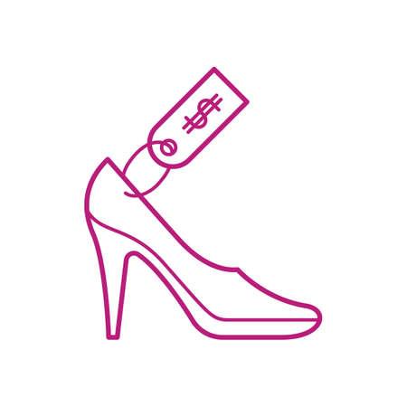 high heeled shoe with price tag Ilustração