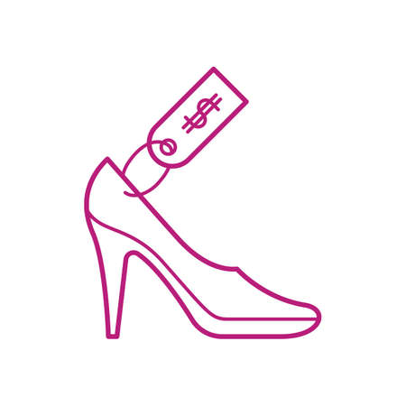 high heeled shoe with price tag Illustration