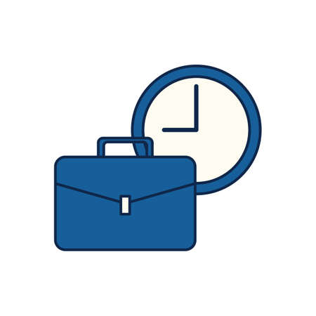 briefcase and clock Illustration
