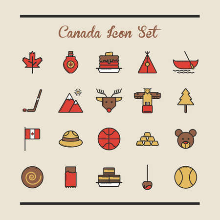canada icon set Illustration