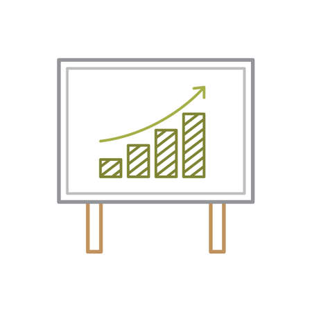 A projector screen with bar graph illustration. Illustration