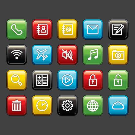 携帯アプリのアイコンを設定  イラスト・ベクター素材