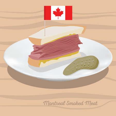 モントリオールのスモーク肉のイラスト。