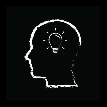 human head with bulb Banco de Imagens - 81534951