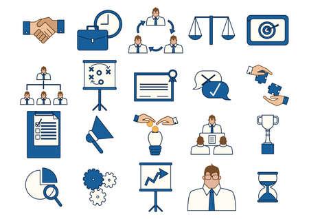 ビジネス戦略のアイコンのセット