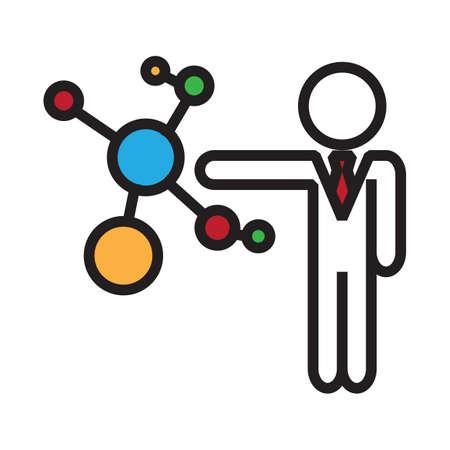 businessman with molecular structure