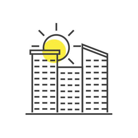 A sun and buildings illustration. Illusztráció