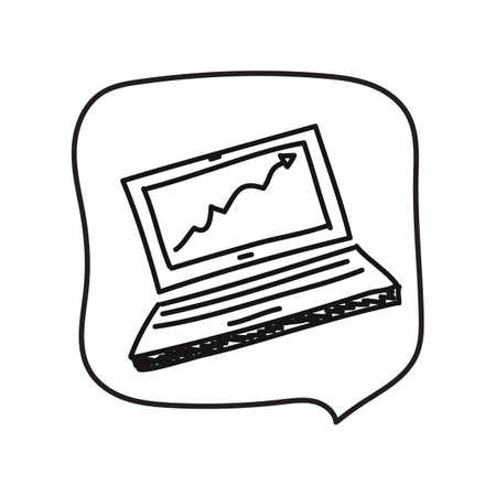 グラフとノート パソコン  イラスト・ベクター素材