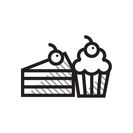 A cupcake and pastry illustration. Illustration