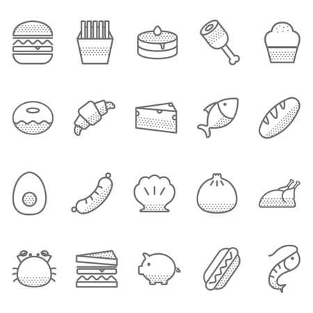 Verzameling van voedsel pictogrammen Stock Illustratie