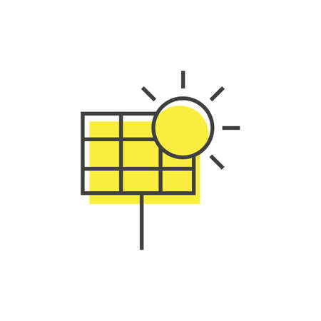 A solar panel with sun illustration. Ilustrace