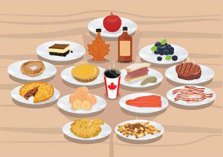 캐나다 음식 및 음료수 수집 일러스트