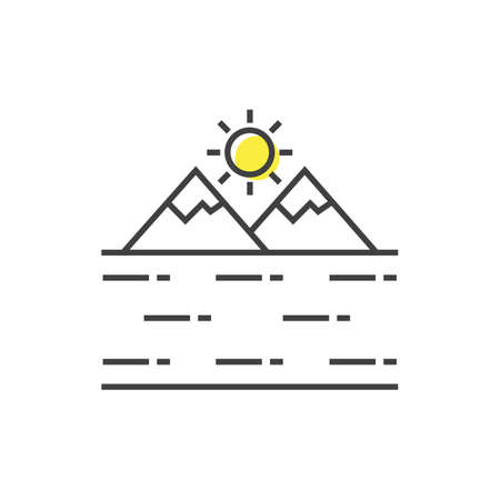 sun with mountains