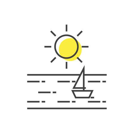 Een zon met zeilbootillustratie.