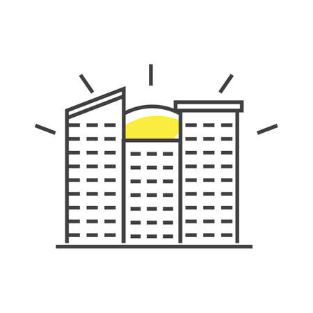 A sun over apartment building illustration.