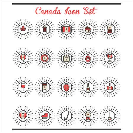canada icon set Illusztráció