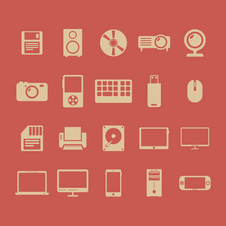 collection of technology icons 向量圖像