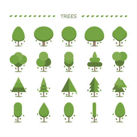 Collection of trees Ilustracja