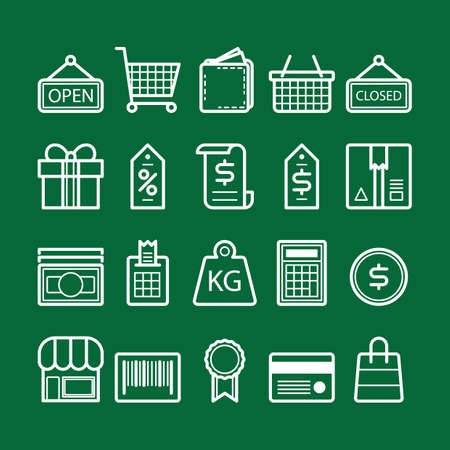 collection of shopping icons Çizim