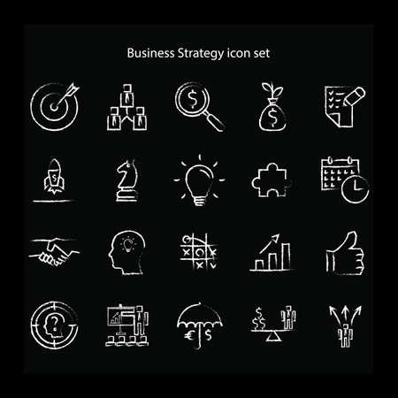 Ensemble d'icônes de stratégie commerciale Banque d'images - 81534981