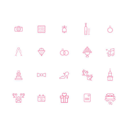 collection of wedding icons Banco de Imagens - 106667525