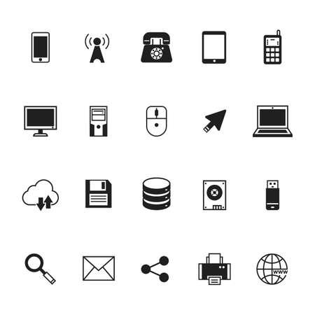 Verzameling van technologie iconen Stock Illustratie