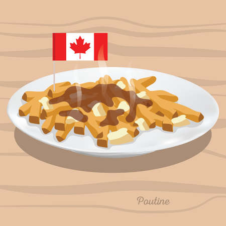 A poutine illustration. Иллюстрация