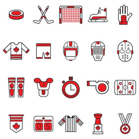 캐나다 아이콘 집합 그림. 일러스트
