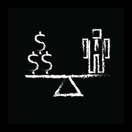 dollar en zakenman op wip