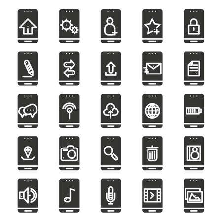 A mobile app icon set illustration. Illustration