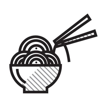 Noodles bowl and chopsticks