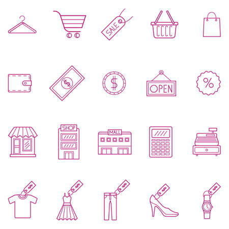 paper hanger: collection of shopping icons Illustration