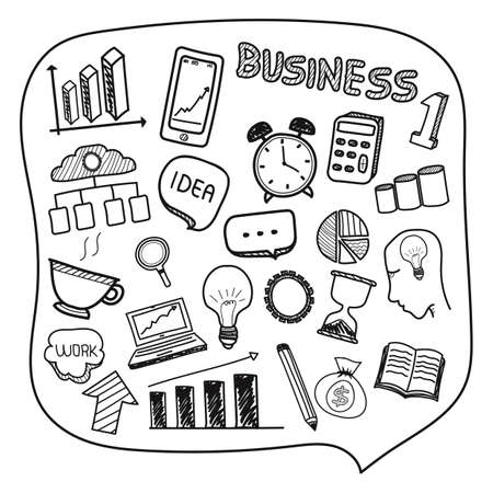 Collection of hand drawn business icons.