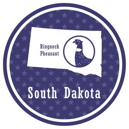 south dakota state map with ringneck pheasant