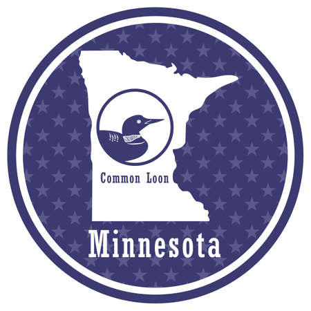 minnesota state map with common loon